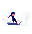 young woman sitting on floor with laptop near vector image vector image