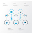 multimedia icons colored set with rewind widen vector image