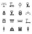 Scales weighing weight black icons set vector image