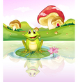 A frog watching his reflection from the water vector image vector image