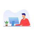 a man working at computer at office or at home vector image vector image