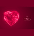 abstract red heart constructed with vector image
