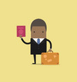 african businessman with a suitcase and passport vector image vector image