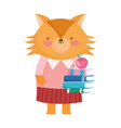 back to school education cute fox with books and vector image