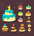 birthday cakes celebration delicious dessert with vector image