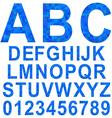 Blue mosaic font set vector image vector image