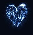 blue neon heart glowing in the dark vector image vector image