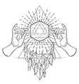 buddha hands over sacred geometry metatrons cube vector image vector image