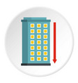 Building and red down arrow icon circle vector image