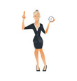 business woman time clock deadline concept vector image vector image