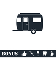 Camping trailer house icon flat vector image vector image