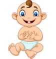 cartoon baby boy clapping hand vector image vector image