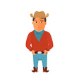 Cartoon cowboy character on white background vector image vector image