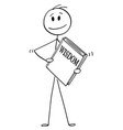 cartoon man holding big book wisdom vector image vector image