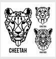 cheetah and panter - animal heads icons vector image vector image