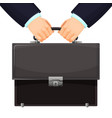 closeup of budget leather briefcase held tightly vector image vector image