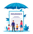family insurance - cartoon people standing near vector image