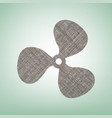 fan sign brown flax icon on green vector image vector image