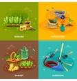 Gardening 2x2 Design Concept vector image vector image