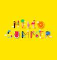 hello summer background with signs and symbols vector image vector image