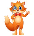 hipster fox in a monocle and bow tie vector image vector image