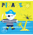 Kid background with pirate vector image vector image