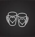 lovers mugs with heart thin line on black vector image