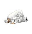 muslim man praying hand drawn sketch vector image vector image