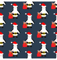penguin in christmas costume seamless pattern vector image vector image