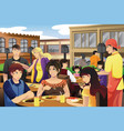 people eating in an outdoor restaurant vector image