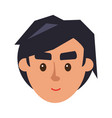 physiognomy boy brunet haired man face front vector image vector image