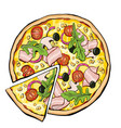 pizza with bacon slice vector image