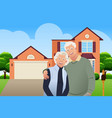 retired senior couple in front their house vector image vector image