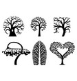 set of art tree symbols vector image vector image