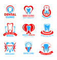 set of dental clinic icons vector image vector image