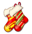 set of hanging colored fur boots red and green vector image vector image