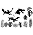 silhouettes of lizards gecko and tropical leaves vector image
