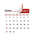 simple calendar 2017 year october month vector image vector image