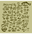 sketch food icon set vector image