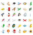 summer icons set isometric style vector image vector image