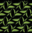 tea leaves pattern with black backdrop vector image vector image