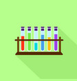 test tubes on stand icon flat style vector image