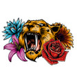 tiger head face and composition flowers yellow vector image vector image
