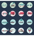 Transport icons round set vector image