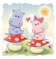 two cute cartoon hippos vector image vector image