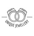 unique rings jewellery logo outline style vector image
