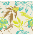 Vintage Floral Birds Pattern vector image vector image
