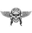 vintage monochrome winged pilot skull vector image vector image