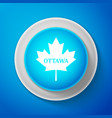 white canadian maple leaf with city name ottawa vector image vector image