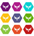 winner wing icons set 9 vector image vector image